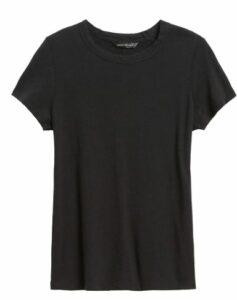 Banana Republic Slub Cotton-Modal Crew-Neck T-Shirt in a summer black wardrobe