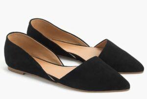 JCREW Zoe suede d'Orsay flats in a summer black wardrobe