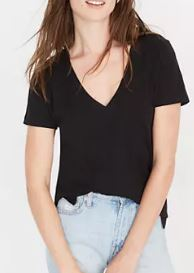 Madewell Whisper Cotton V-Neck in a summer black wardrobe