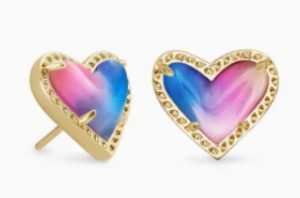 Ari heart gold stud earrings, $48