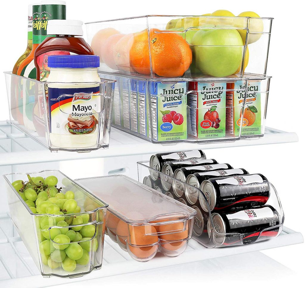 Greenco GRC0250 Fridge Bins, Stackable Storage Organizer Containers with Handles