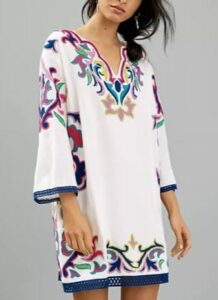 Olympia Embroidered Tunic Dress