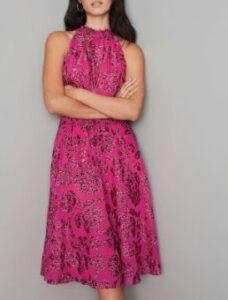 Floral Burnout Smocked-Neck Midi Dresses for women over 50