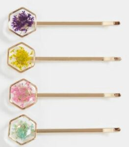 ASOS DESIGN pack of 4 hair clips in trapped flower design