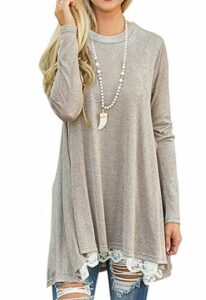 Long Sleeve Lace Splicing Swing Shirt Dresses Long Tunic
