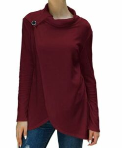 Loose Button Lightweight Pullover Tunic Tops