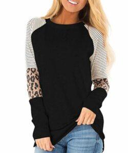 HARHAY Women's Leopard Print Color Block Tunic