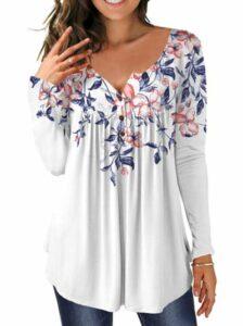 MAYAMANG Women's Floral Tunic Top