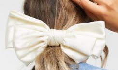 My Accessories London Exclusive oversized bow hair scrunchie in off white satin