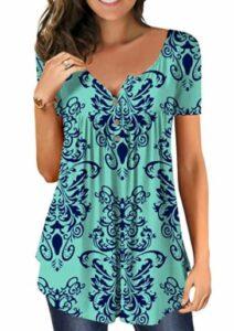 Women's Shirts Casual Blouse Short Sleeve Tunic