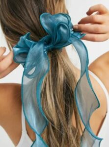 Pieces organza hair tie with bow in blue