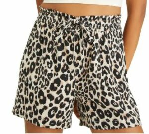On Repeat Leopard Print Drawstring Linen Blend Shorts