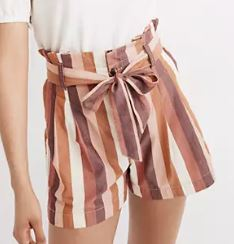 Paperbag Shorts in Rainbow Stripe