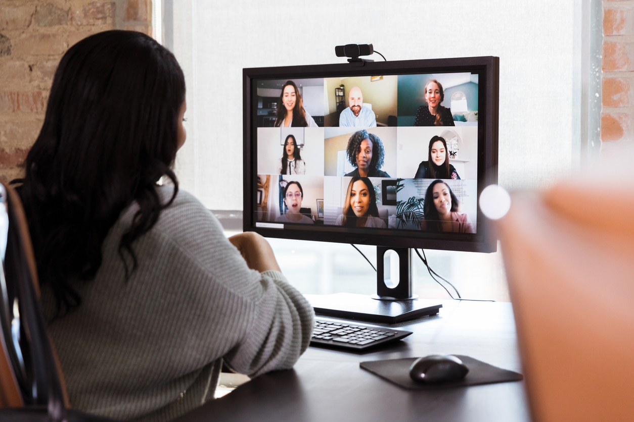 Woman on zoom call for work