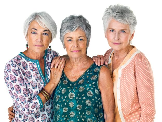 women with various shades of gray hair