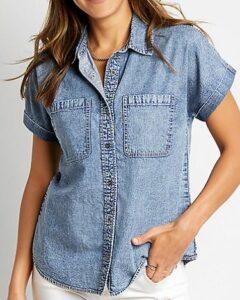 Denim Short Sleeve Utility Button Down Shirt