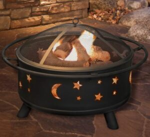 Jackman Star and Moon Steel Wood Burning Fire Pit
