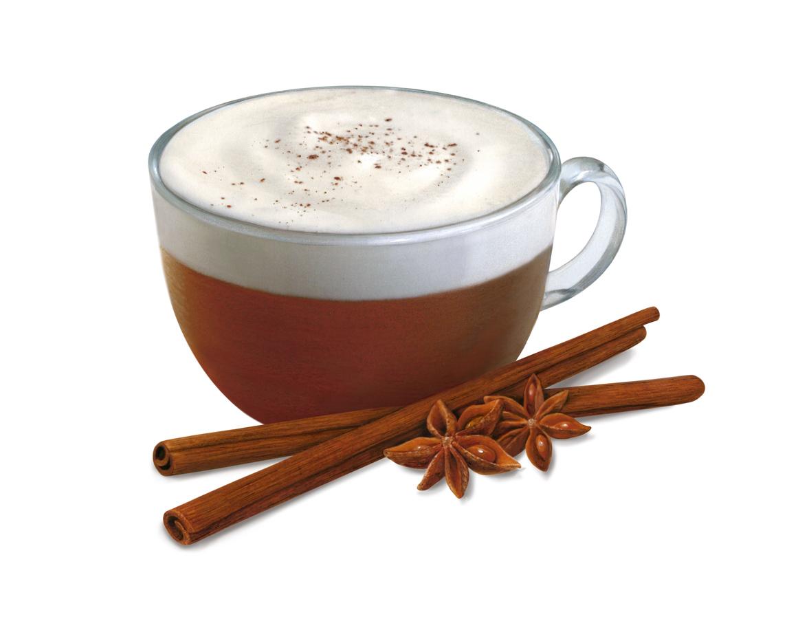 Pumpkin spice latte with cinnamon sticks