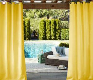 Sunbrella® Indoor/Outdoor Grommet Solid Cast Curtain - Citrus