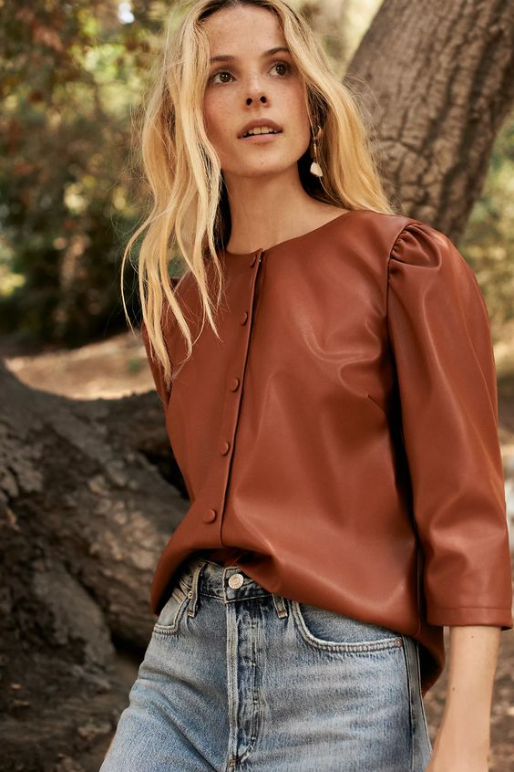 faux leather top