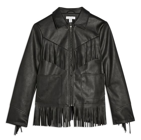 fringe faux leather jacket