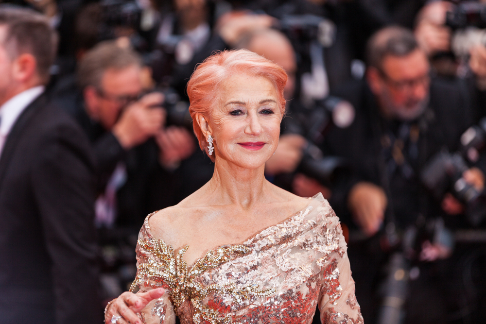 helen mirren with rose pink hair