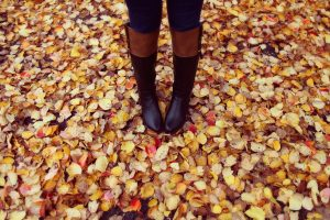 tall boots in leaves