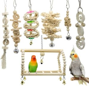 Deloky 7 Packs Bird Parrot Swing Chewing Toys and gifts for pets