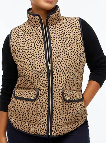JCREW Animal-print puffer vest with snap pockets