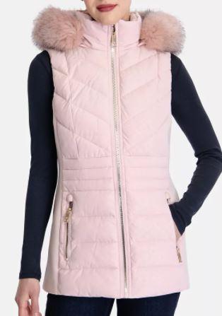 Michael Kors Faux-Fur-Trim Hooded Vest