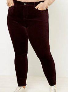 LOFT Plus High Rise Skinny Velvet Pants, $54.99