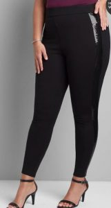 Pull-On High-Rise Ponte Legging With Sequin-Embellished Side, $34.97
