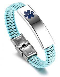 JF.JEWELRY Customizable Engraving Medical Alert ID Bracelet for Women Multi-color Optional Nylon Handmade Braided Awareness Cuff Bangle Bracelets, $12.99