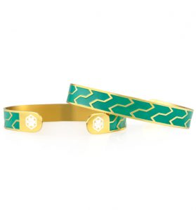 Ziza Mini Cuff In Emerald & Gold medical alert bracelet