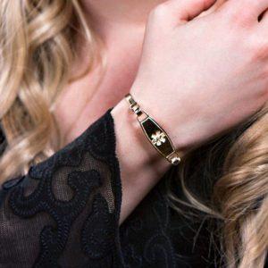 Medical ID Bracelet Women - Easy On & Off Medic Alert - Diabetic Bracelet - Dementia Bracelet - Personalized Engraving - Yellow Gold Bangle, $61.95