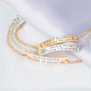 Medical ID Bracelet Women, Personalized Sterling silver, 14K Gold filled, Rose Gold Medical alert bracelets, Medic alert jewelry, $36