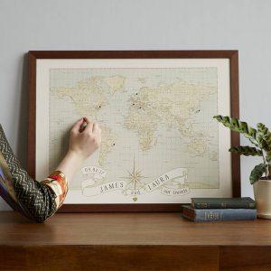 Personalized Anniversary Pushpin World Map, $149