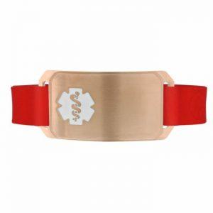 Rose Gold Large Silicone Flex medical id bracelet