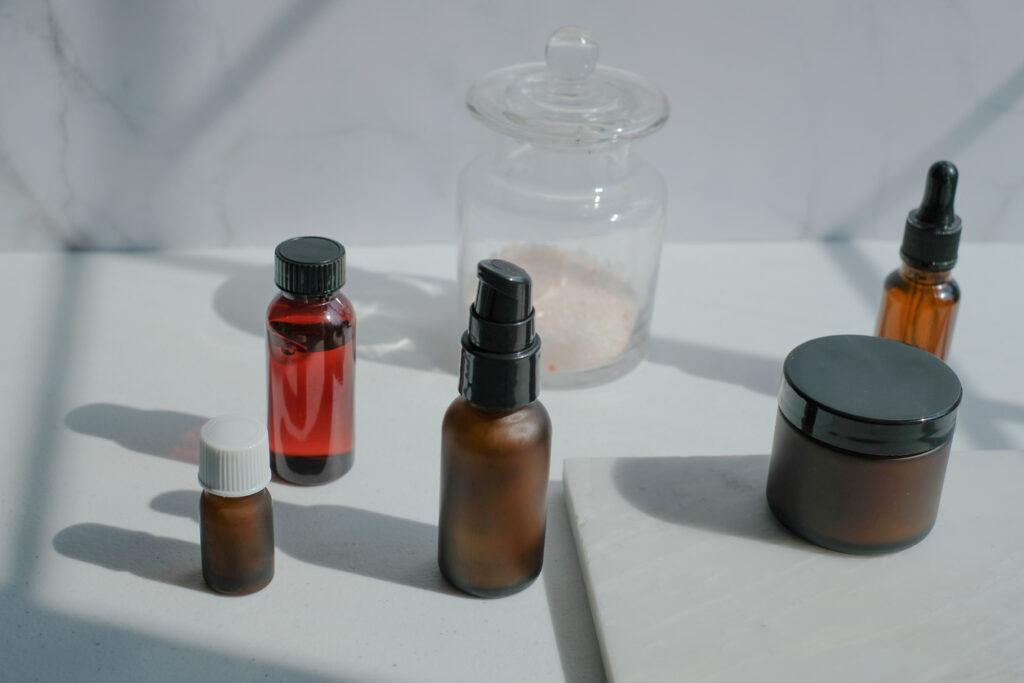 Glass makeup bottles