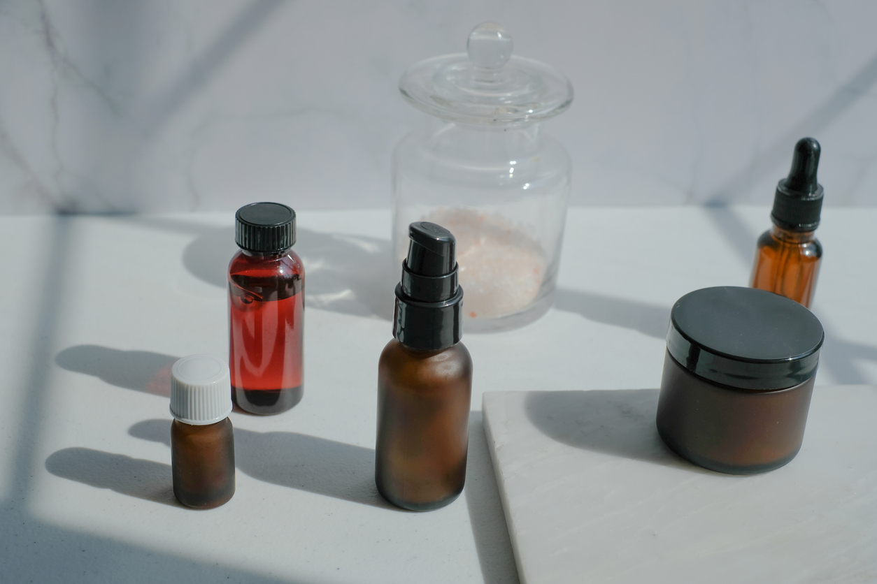 Glass makeup bottles
