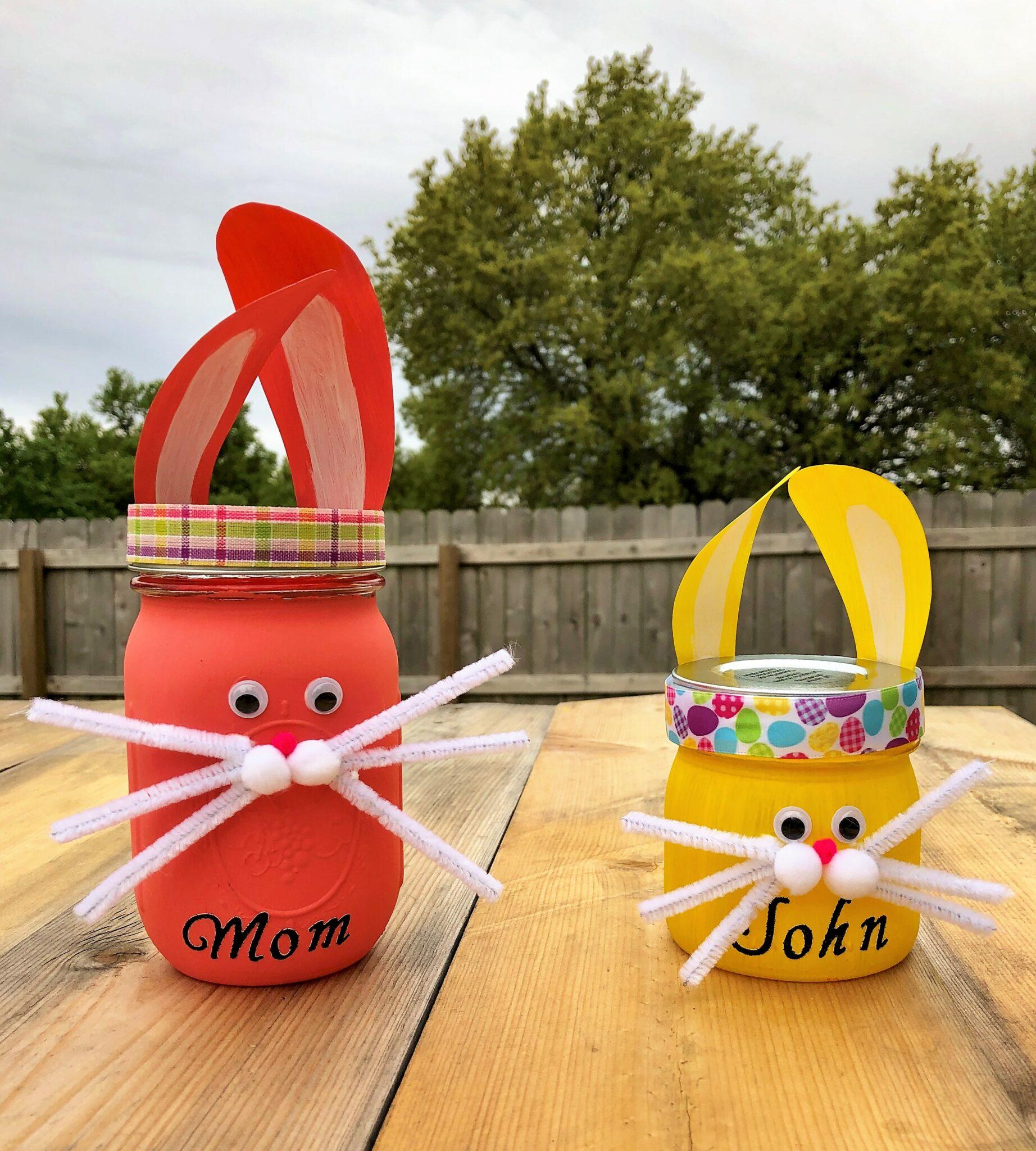 Easter Bunny Jars craft with grandchildren