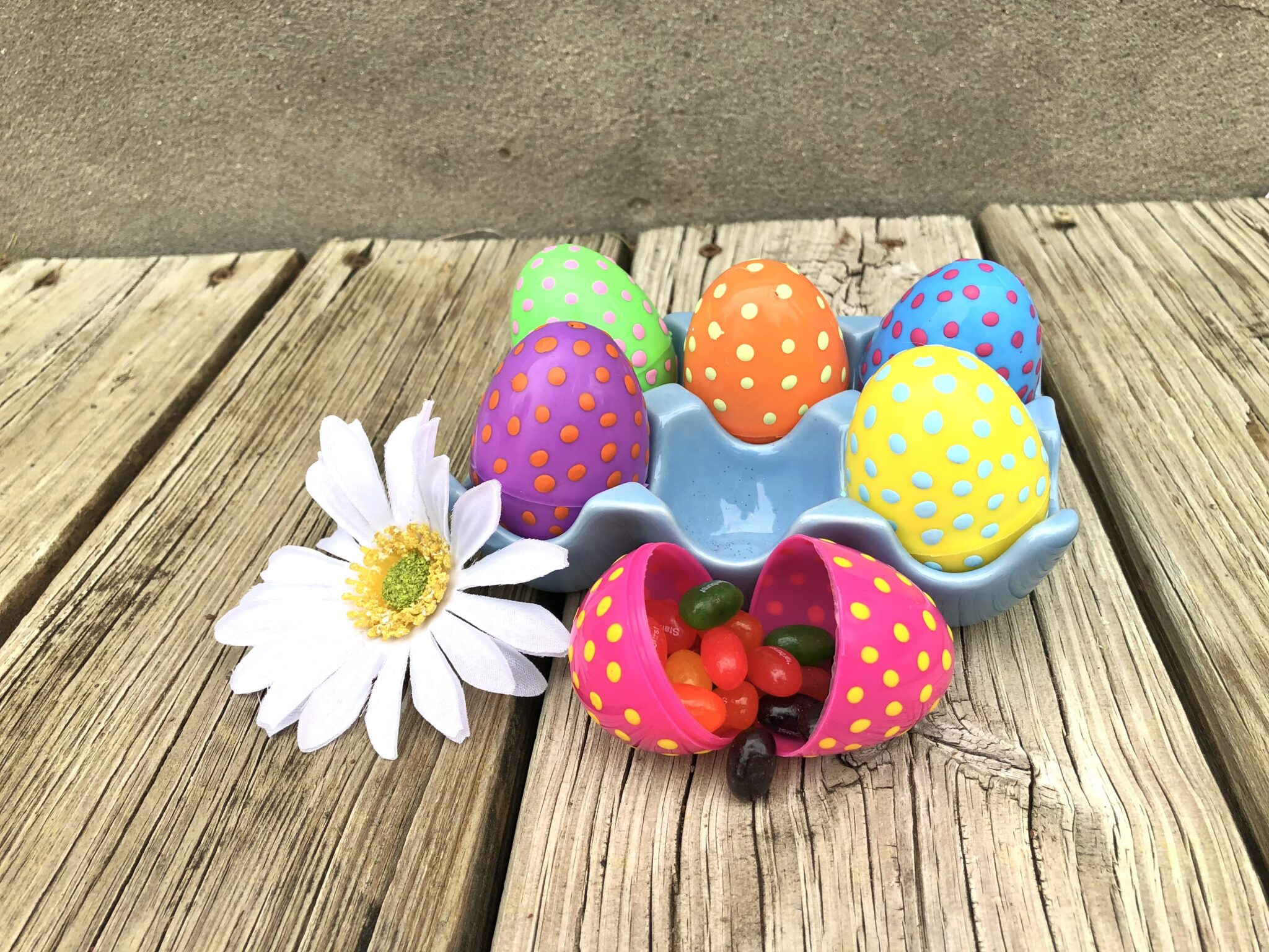 Easter Eggs Polkadot DIY Crafts with grandkids