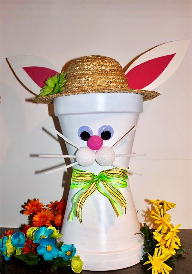 clay pot bunny DIY craft to do with grandchildren