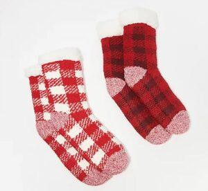 Cuddl Duds Buffalo Check Sherpa Lined Socks Set of 2