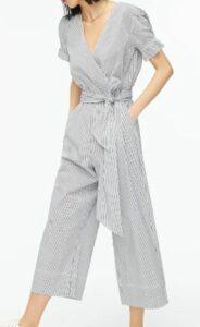 Ruffle stretch cotton poplin jumpsuit