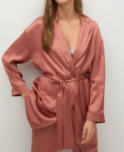 Satin-finish robe with belt