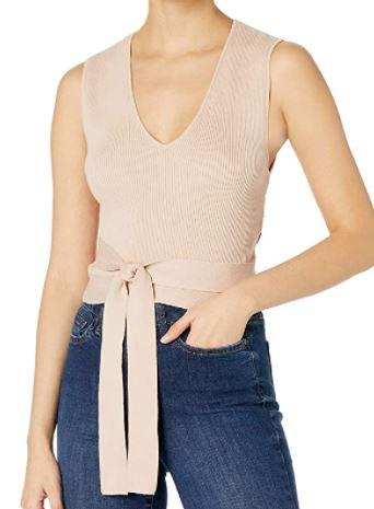 BCBGMAXAZRIA Women's Cotton Rib Wrap Top