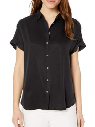 Daily Ritual Women's Oversized Fit Tencel Short Sleeve Shirt