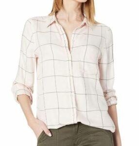Daily Ritual Women's Soft Rayon Slub Twill Long-Sleeve Button-Front Tunic