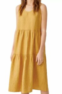 Eileen Fisher Tiered Organic Linen Dress to look thinner